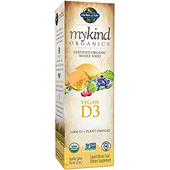 Garden of Life D3 Vitamin - mykind Organic Whole Food Vitamin D Supplement with Plant Omegas, Vegan, Vanilla, 2oz Liquid Spray
