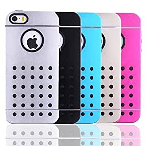 JOE Prevent Sliding Pattern Silicone+Metal Back Case for iPhone 5/5S(Assorted Color) , Silver