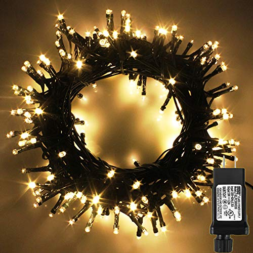 PMS LED String Lights on Dark Green Cable with 8 Light Effects, 108Ft 300 LED Warm White Low Voltage Christmas Lights. Ideal for Indoor Decoration, Christmas, Party, Wedding, etc. (Lights Christmas Tree)