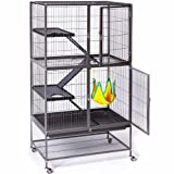 Prevue Hendryx Feisty Ferret Home with Stand, Black Hammertone