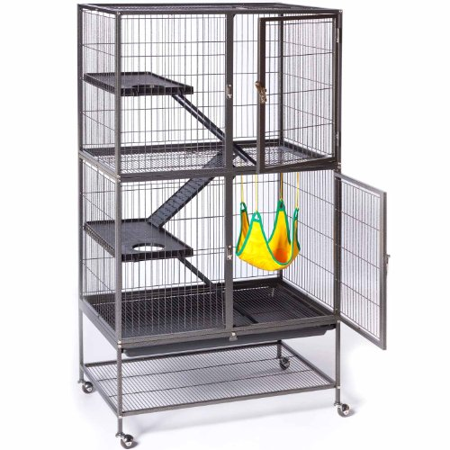 Prevue-Hendryx-485-Pet-Products-Feisty-Ferret-Home-with-Stand-Black-Hammertone