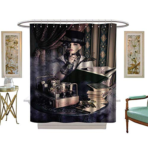 luvoluxhome Shower Curtain Collection by Portrait of a Beautiful Steampunk Woman Over Vintage W69 x L75 Custom Made Shower Curtain -
