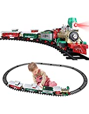Classic Alloy Christmas Train Set for Under The Tree Holiday Express Train Set Around Christmas Tree with Lights and Sounds Large Tracks and Train Cars for Kids