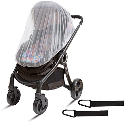 Ritmart Baby Mosquito Net Universal + 2 Hooks for Strollers, Joggers, Car Seats, Carriers, Bassinets, Cribs, Cradles & Playpens. 50 x 46 inch. White Soft Durable Insect Shield Netting