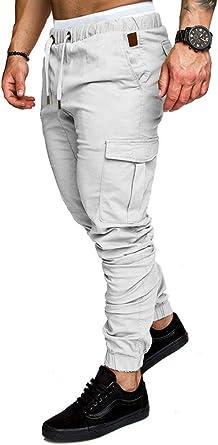 Socluer Cinturón de algodón elástico de los Hombres Pantalones ...