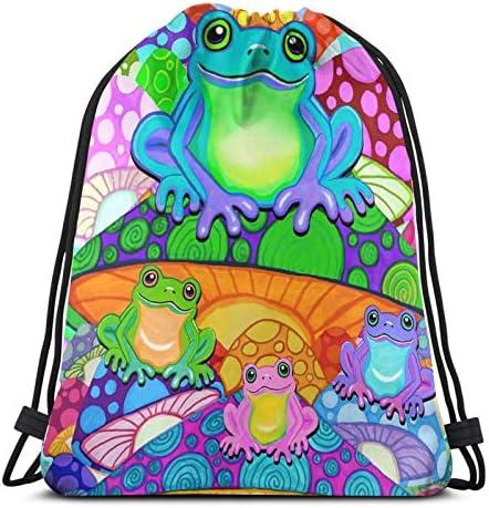 Drawstring Backpack Colorful Mushroom Gym Bag
