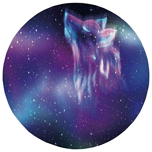 Round Rug Mat Carpet,Fantasy,Psychedelic Northern Starry Sky with Spirit of A Wolf Aurora Borealis Display,Blue Purple,Flannel Microfiber Non-Slip Soft Absorbent,for Kitchen Floor Bathroom ()