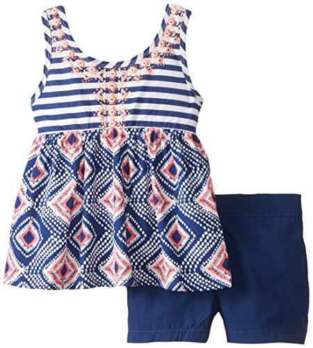 Pogo Club Big Girls' Jillian Tank Top and Shorts Set, Navy, Medium