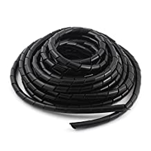 uxcell® Polyethylene Black Spiral Wrapping Band 10mm Cable Wire Manager 9m