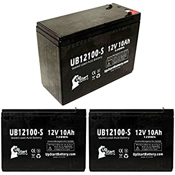 3 pack replacement for neuton mowers ce6 battery - replacement ub12100-s  universal sealed lead acid battery (12v, 10ah, 10000mah, f2 terminal, agm,  sla)