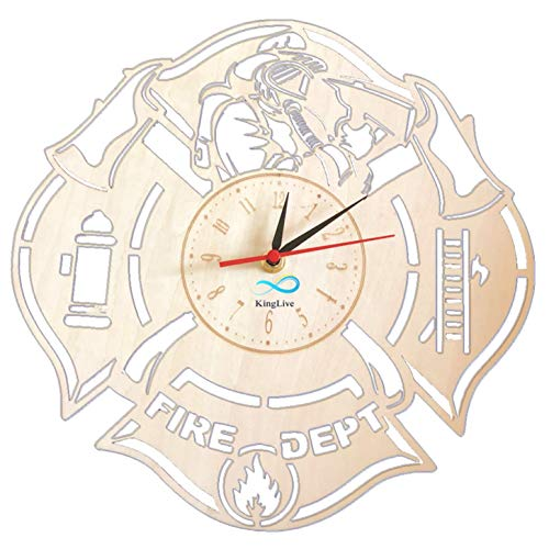 Fire Department Wall Clock Made of Wood Proffessional Decor Merchandise Life Fire Servise Profession Home Artwork Gifts Great Ideas for Firefighter]()