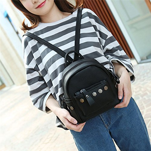 For Bag Backpack Espeedy Backpack 3 School Leather Rivet Mini Girl colors Women PU Women Fashion Red tqRWgURS7w