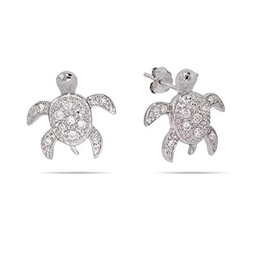 Amazon.com: Plata esterlina CZ Tortugas de mar arete: Jewelry