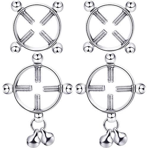 Non-Pierced Nipplerings, Body Piercing Rings, Adjustable Nipplering Shield Rings with Bell, Steel Shields Screw Body Piercing Circle Clamp