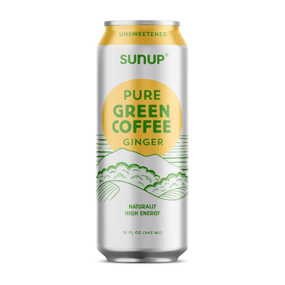 Sunup Pure Green Coffee, Unsweetened Ginger, Made Smooth & Strong From Raw ''Green'' Coffee Beans, Naturally High Energy & Antioxidants, 12 Pack by Sunup