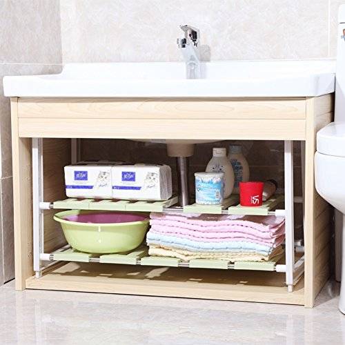 WENZHE Over toilet Bathroom Shelf Rack Washroom Shower Corner Wash Basin Under The Sink Drain Shelf Stainless Steel, 2 Colors storage organizer (Color : Green) -