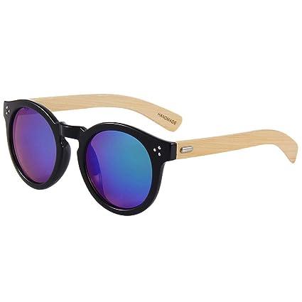 014cc1b5dc Gafas sol Marco Redondo Vintage Madera de bambú Clásico Madera Mujer Hombre  Gafas Protección UV Gafas