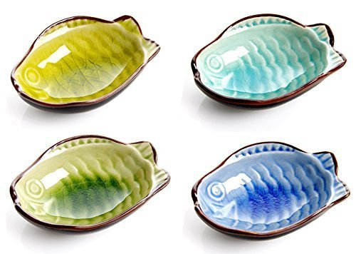 Porcelain Sushi (Astra shop 4PC Fish Shape Porcelain Serving Saucers Bowl Sauce Dishes Sushi Appetizer Plates Japanese Style Dinnerware Set)