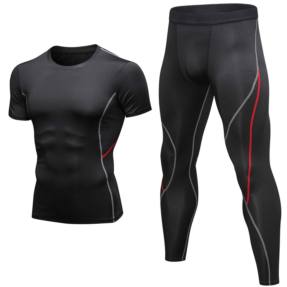 Shengwan 2 Pcs Herren Gym Fitness Sportbekleidung Set, Atmungsaktiv Kompressionsshirt + Sport Leggings Lang Tights