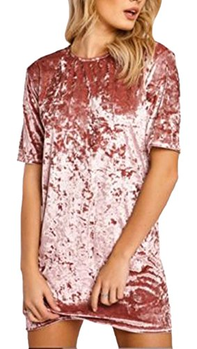 (R.Vivimos Women's Summer Short Sleeve Crushed Velvet Mini Short Dresses (Medium, Pink))