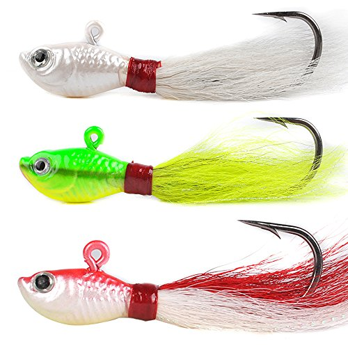 Dr.Fish Lot 3 Bucktail Jig Fluke Lure Saltwater Freshwater Baits Assorted Kit Bass Striper Bluefish Surf Fishing White, Chartreuse, Red 1 oz,
