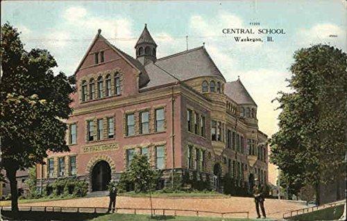 Central School Waukegan, Illinois Original Vintage Postcard