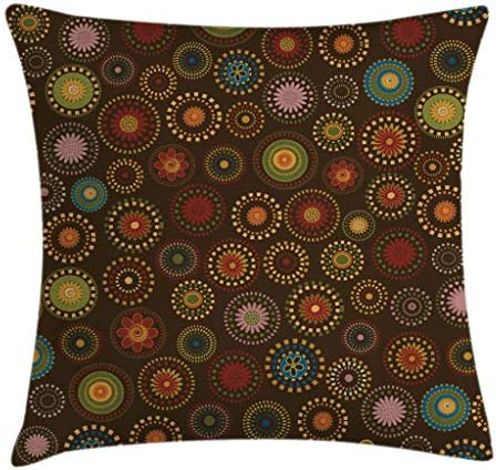 Ambesonne Cabin Throw Pillow Cushion Cover, Circular Mandala Inspired Eastern Flowers Ornate Round with Vintage Design, Decorative Square Accent Pillow Case, 24 X 24 , Brown Yellow