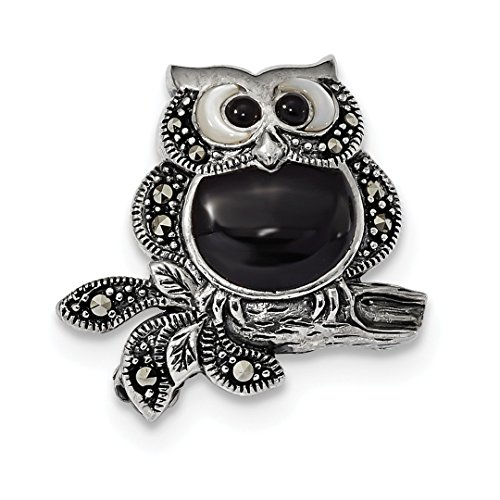 ICE CARATS 925 Sterling Silver Marcasite/mother Of Pearl/black Agate Owl Pin Fine Jewelry Gift Set For Women (Marcasite Owl Pin)