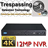 OWLTECH 4K 16 Channel 12MP Trespassing Detection NVR support Standard Onvif + 16x DC48V POE built in Port + Stable P2P Remote for Android, Apple + Instant Push Message to the App