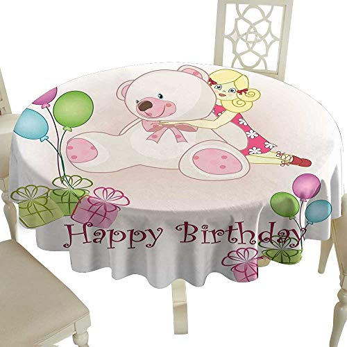 Cranekey Party Round Tablecloth 50 Inch Kids Birthday,Baby Girl Birthday with Teddy Bears Toys Balloons Surprise Boxes Dolls Image,Pale Pink Great for Buffet Table,Parties,Holiday Dinner & More