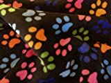 Black Paw Print Polar Fleece Fabric (Per Metre)
