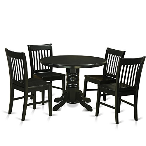 East West Furniture SHNO5-BLK-W 5 Piece- Table and 4 Dinette Chairs