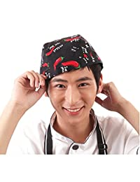WINOMO Fashion Chefs Hat Cap Kitchen Catering Skull Cap Ribbon Cap Turban (Black)
