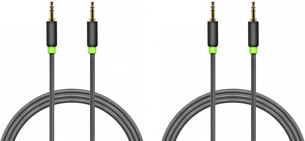 Aurum Cables Male to Male 3.5mm Universal Gold Plated Auxiliary Audio Stereo Cable for iPhone, iPad, iPod, Kindle, Smartphones, Tablets and MP3 Players - 6 Feet - (2 Pack)