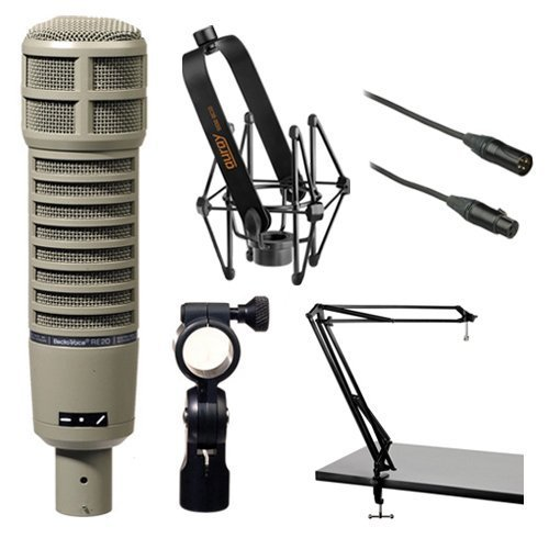 - Electro-Voice RE20 Microphone Kit with Shockmount, Two-Section Broadcast Arm and Microphone Cable