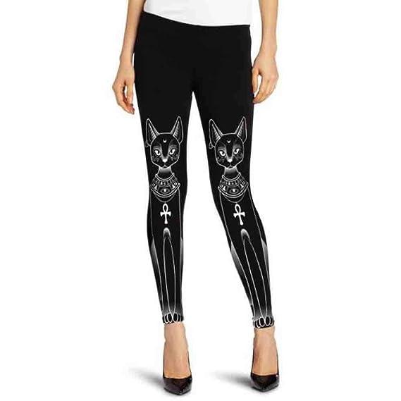 Ansenesna Mujer Pantalones Tallas Grandes Elasticos Invierno Gato Egipcio Sello Hippie GóTico Flaco Casuales Medias Leotardos