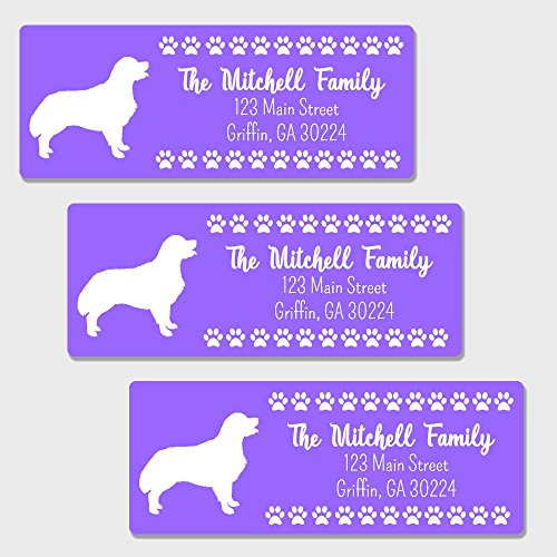 60 Personalized Golden Retriever Themed Return Address Labels - Customized Address Labels (AL36)