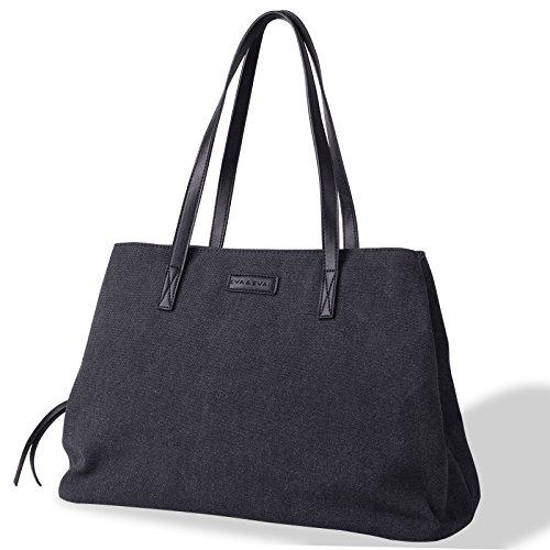 Eva & Evan Women's Canvas Hobo Top Handle Bag Shoulder Bag Stylish Style Large Ladies Casual Hobo Daily Purse Tote Shopper Handbag (Black)