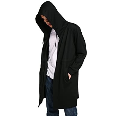 3f8b3560a Hengzhi Men's Cool Long Hooded Jacket Cardigan Classic Black Cloak Cape Coat