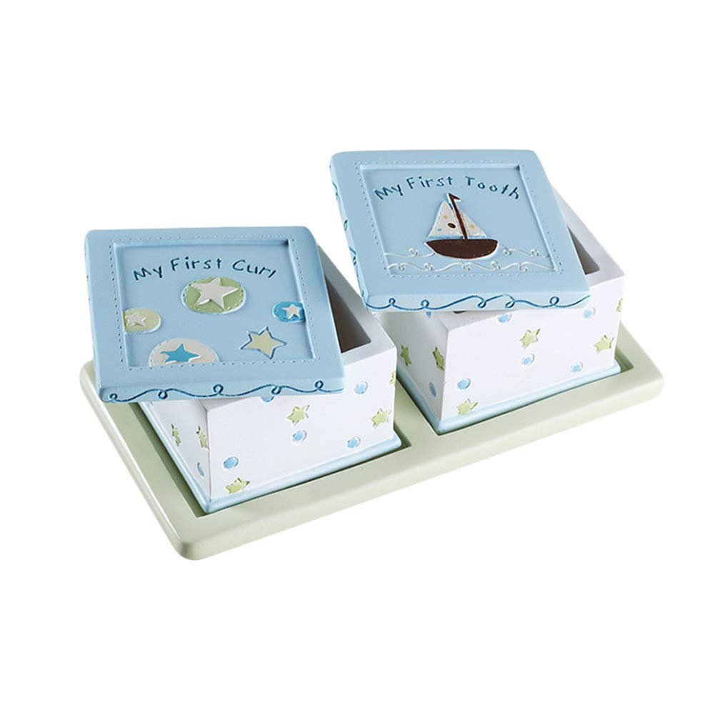 Blue Jitnetiy Lovely Child Tooth Box First Tooth and Curl Hair Boxes Keepsake Holder for Boys or Girls
