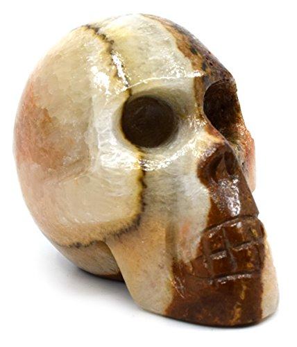 (Earthen Green Onyx Aragonite Skull Figure, 2.5