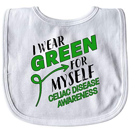 Inktastic I Wear Green for Myself- Celiac Disease Awareness Baby Bib White