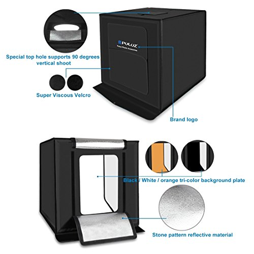 KXIN Photo Studio Box 24 inch Light Box Photography Light Tent, Professional Foldable Shooting Lighting Softbox 3 Colors Photography Waterproof Background Screen & Carrying Bag,UKplug by KXIN (Image #1)
