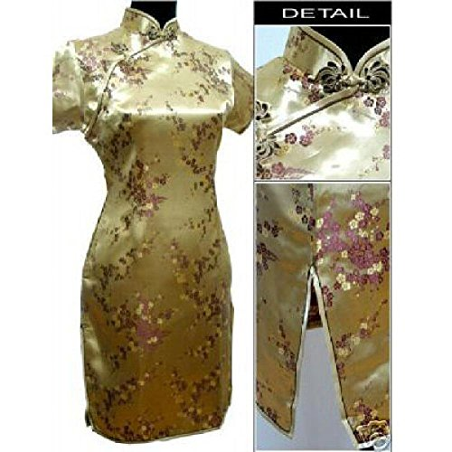 Short Dress Chinese Traditional Women Qipao Dresses Satin Flower Cheongsam Gold 5XL (Chinese Women Traditional Vest)