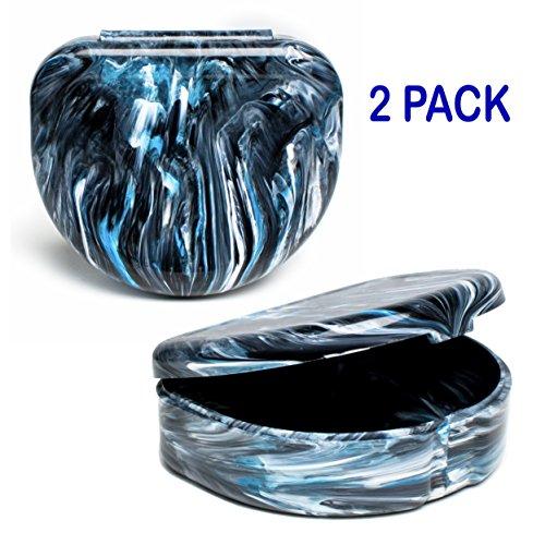 Elegancia Orthodontic Retainer Case 2pk Designer Marble Colors (Designer Black Bean)