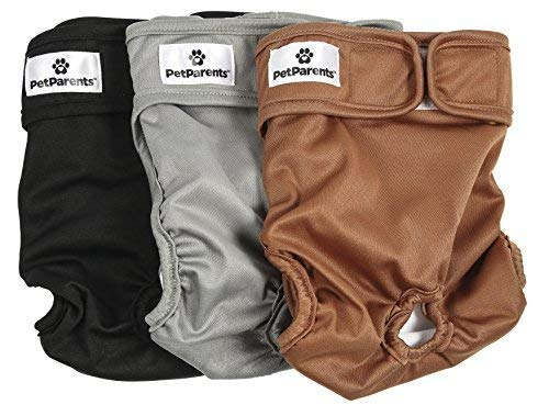 (Pet Parents Washable Dog Diapers (3pack) of Doggie Diapers, Color: Natural, Size: Medium Dog Diapers)