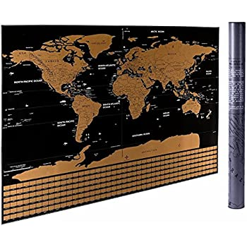 Amazon scratch off world map poster with us states and 325 x 234 scratch off the world map cnsunway lighting travel map poster black scratch off the world map gumiabroncs Image collections
