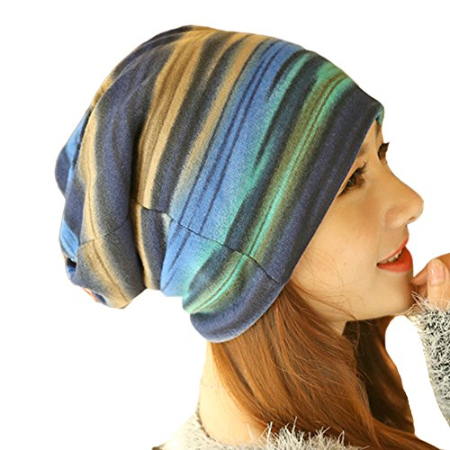 Women's Winter Fleece Rainbow Stripes Convertible Beanie Hat Cap Hood Headgear