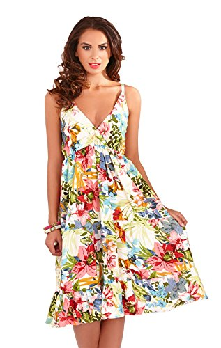 Martildo Fashion, robe pour vacances d'été mi-longue pour femmes, Bleu Diamant, L (EU 44-46)
