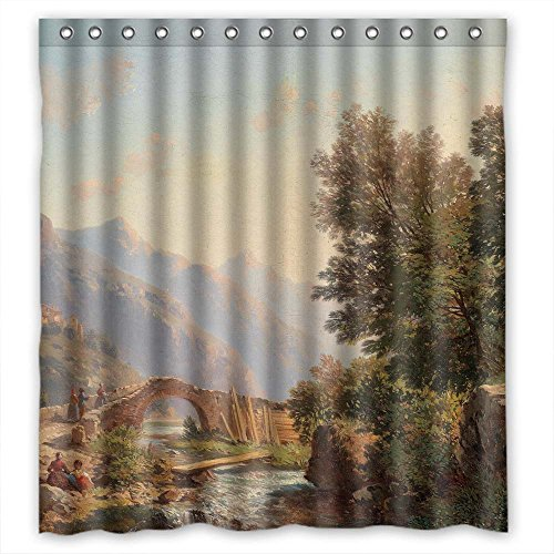 Pelican Eel (MaSoyy Polyester Beautiful Scenery Landscape Painting Bath Curtains Width X Height / 66 X 72 Inches / W H 168 By 180 Cm Gift Or Decor For Couples Family Family Lover Girls. Rust Proof -)